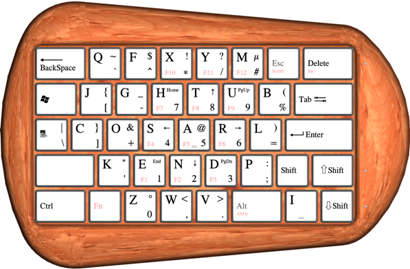 A super compact keyboard for left handers.